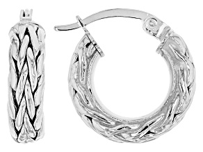 14K White Gold 1/2 Inch Wheat Border Hoop Earrings