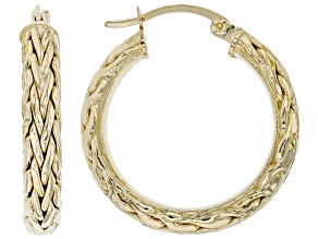 14K Yellow Gold 1 Inch Wheat Border Hoop Earrings