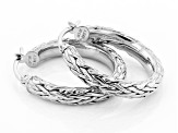 14K White Gold 1 Inch Wheat Border Hoop Earrings