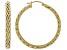 14K Yellow Gold 1.5 Inch Wheat Border Hoop Earrings