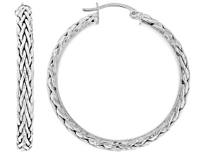 14K White Gold 1.5 Inch Wheat Border Hoop Earrings