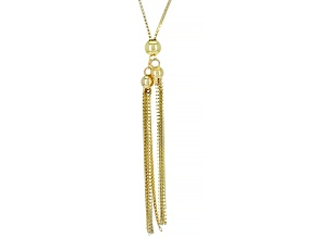 14K Yellow Gold Adjustable 24 Inch Box Chain Lariat Necklace