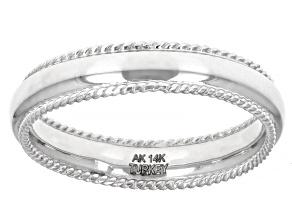 14K White Gold Ribbed Border High Polished Band Ring
