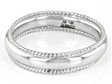 14K White Gold Ribbed Border High Polished Band Ring
