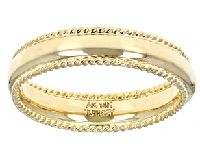 14K Yellow Gold Ribbed Border High Polished Band Ring