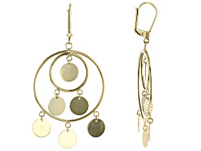 10K Yellow Gold Diamond-Cut Disc Drop Chandelier Earrings