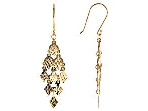 10K Yellow Gold Diamond-Cut Chandelier Earrings
