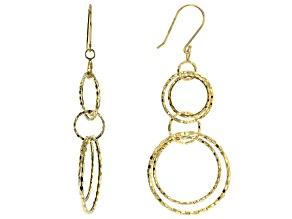 10K Yellow Gold Diamond-Cut Double Drop Earrings