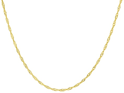 10K Yellow Gold Diamond-Cut Singapore Chain 20 Inch Necklace