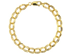 10K Yellow Gold Double Curb Link Mirror Bracelet