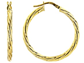 10K Yellow Gold 20MM Torchon Tube Hoop Earrings