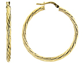 10K Yellow Gold 25MM Torchon Tube Hoop Earrings