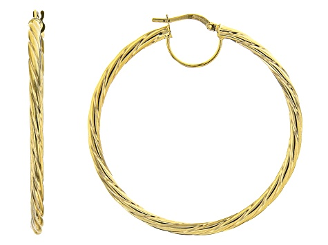 10K Yellow Gold 40MM Torchon Tube Hoop Earrings