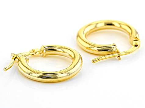10K Yellow Gold 10MM High Polished Hoop Earrings