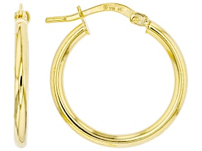 10K Yellow Gold 15MM High Polished Tube Hoop Earrings
