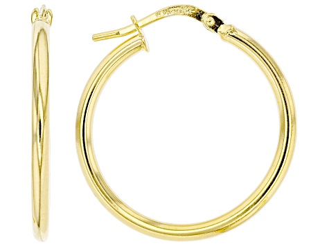 10K Yellow Gold 20MM High Polished Tube Hoop Earrings