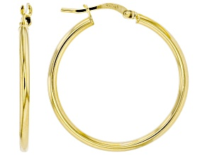 10K Yellow Gold 25MM High Polished Tube Hoop Earrings