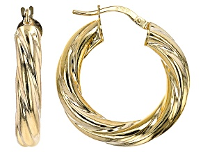 10K Yellow Gold 15MM Wide Torchon Hoop Earrings