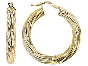 10K Yellow Gold 20MM Wide Torchon Hoop Earrings