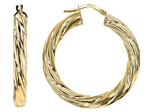10K Yellow Gold 25MM Wide Torchon Hoop Earrings