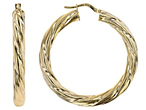 10K Yellow Gold 30MM Wide Torchon Hoop Earrings