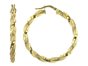 10K Yellow Gold 30MM Greek Torchon Tube Hoop Earrings