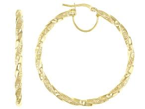 10K Yellow Gold 35MM Greek Torchon Tube Hoop Earrings