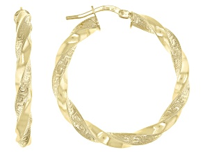 10K Yellow Gold 25MM Greek Torchon Earrings