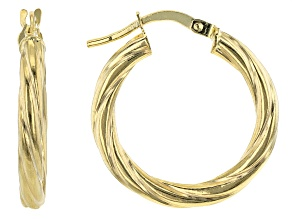 10K Yellow Gold 10MM Torchon Tube Hoop Earrings
