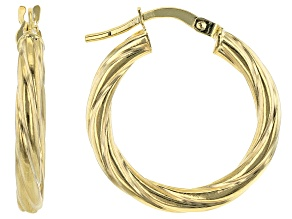 10K Yellow Gold 15MM Torchon Tube Hoop Earrings