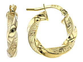 10K Yellow Gold 10MM Greek Torchon Tube Hoop Earrings