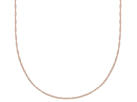 10k Rose Gold Rope Link Chain Necklace 20 inch