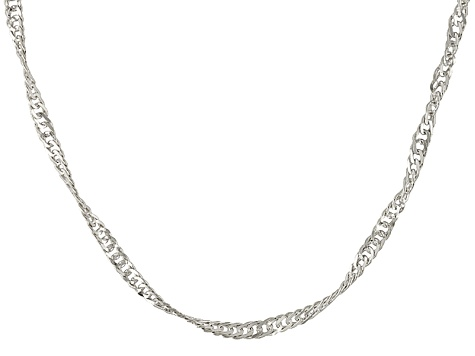 10k White Gold Singapore Link Chain Necklace 20 inch
