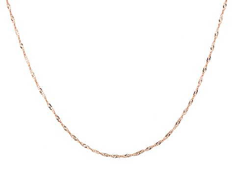 10k Rose Gold Singapore Link Chain Necklace 24 inch