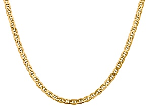 14k Yellow Gold 4.1mm Semi-Solid Mariner Chain 24 inch