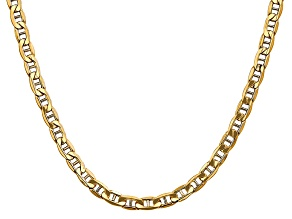 14k Yellow Gold 5.5mm Semi-Solid Mariner Chain 24 inch