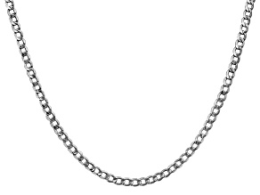 "14k White Gold 3.35mm Semi-Solid Curb Link Chain 18"" with Lobster Clasp."