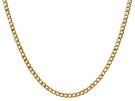 14k Yellow Gold 3.35mm Semi-solid Curb Link Chain 20