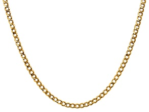 14k Yellow Gold 3.35mm Semi-solid Curb Link Chain 20""