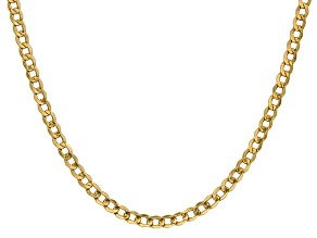 14k Yellow Gold 4.3mm Semi-Solid Curb Link Chain 16""