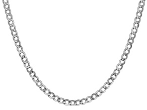14k White Gold 4.3mm Semi-Solid Curb Link Chain  24""