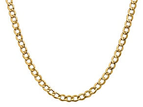 14k Yellow Gold 5.25mm Semi-Solid Curb Link Chain  24""