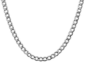 14k White Gold 5.25mm Semi-Solid Curb Link Chain  24