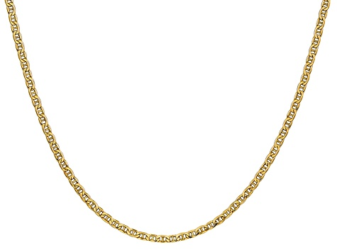 14k Yellow Gold 2.40mm Semi-Solid Mariner Chain 24 inch