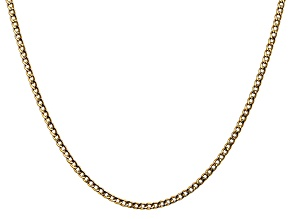 14k Yellow Gold 2.5mm Semi-Solid Curb Link Chain  18