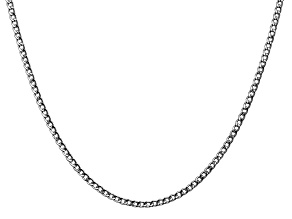 14k White Gold 2.5mm Semi-Solid Curb Link Chain  18""