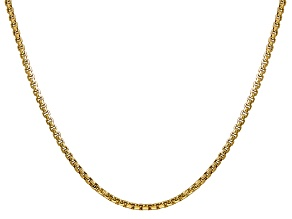 14k Yellow Gold 2.45MM Hollow Round Box Chain 18""