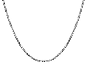 14K White Gold 2.45mm Hollow Round Box Chain 24""