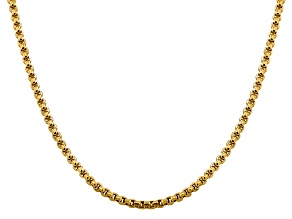 14k Yellow Gold 3.6mm Hollow Round Box Chain 24""