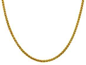 14k Yellow Gold 3.45mm Semi-solid Wheat Chain 20""